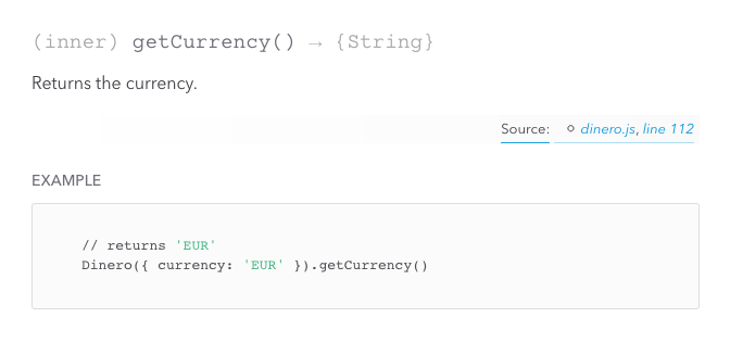 Documentation for the Dinero.getCurrency method